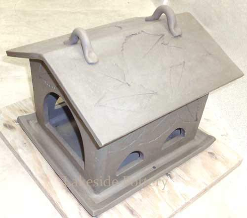 custom made ceramic clay bird feeder - with choice of colors