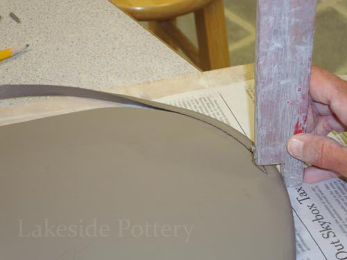 how to cut angled edge in clay 30 degrees