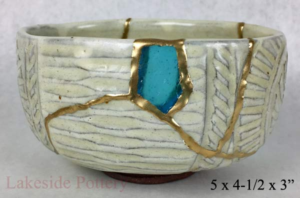 kintsugi gift - antique japanese bowl with sea glass