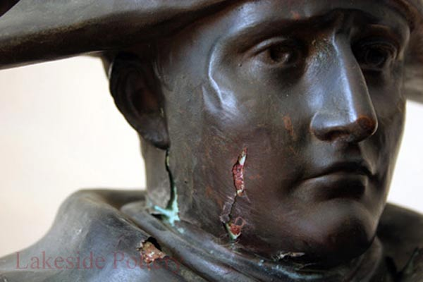 Repairing corroded bronze metal statue over plaster - lost wax