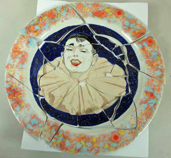 clown hand painted plate broken