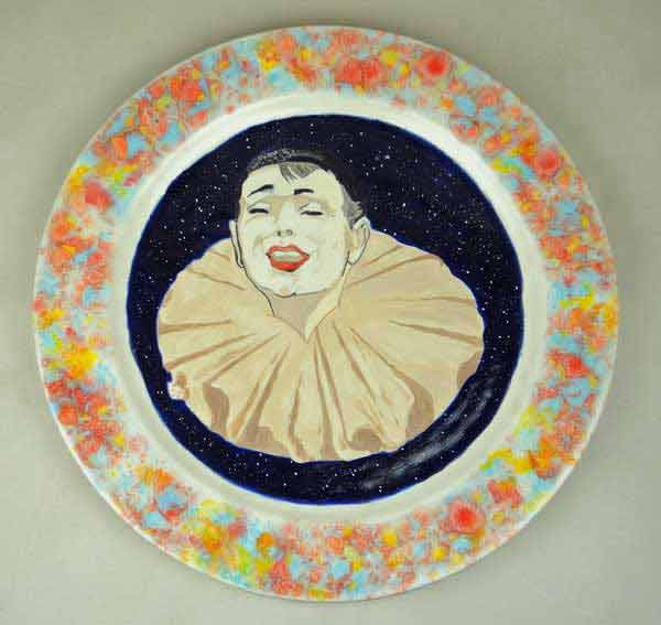 hand painted clown plate restored