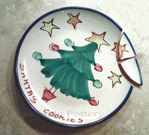 Santa plate - before repair