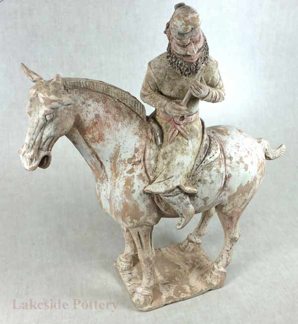 Terra Cotta Chinese Tang horse and rider restored