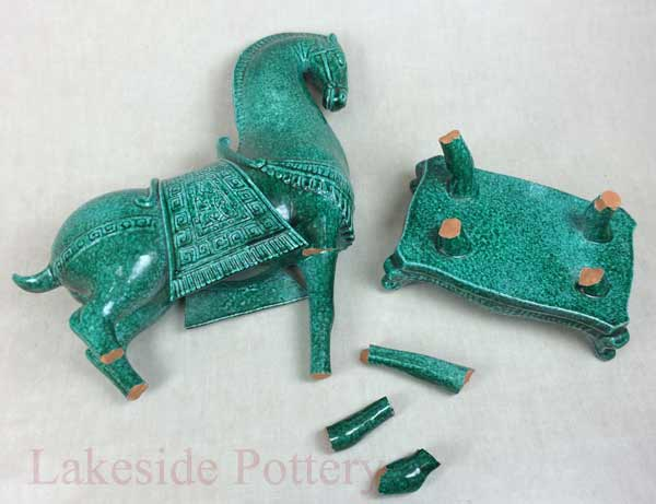 Tang chinese terracotta horse - green glaze