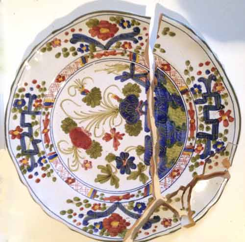 Broken Italian plate - multi colors