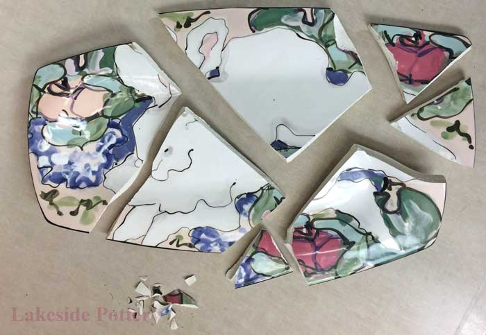 Large hand painted tray broken