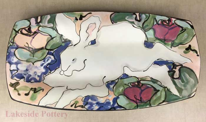 Large hand painted tray repaired