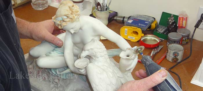 Fixing broken pottery and china - questions and answers, Minton Parian Figure woman on horse