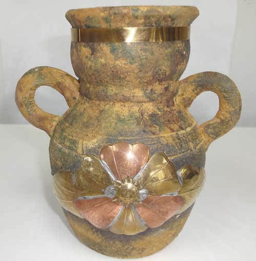 sedona terra cotta vase repaired - with copper