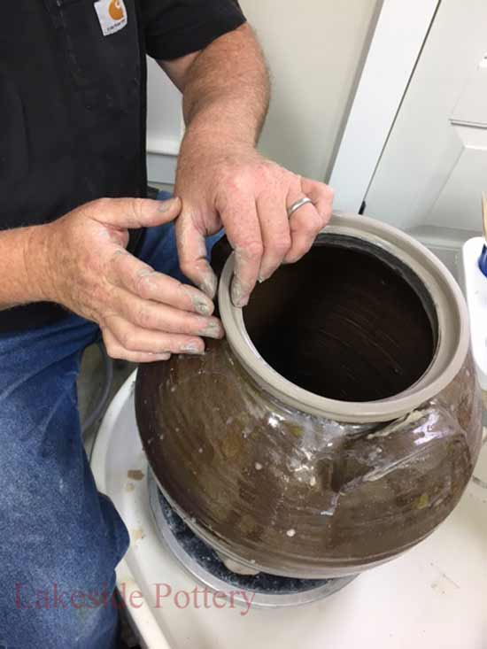 How to Replace Stoneware Crock's rim using the potter's wheel